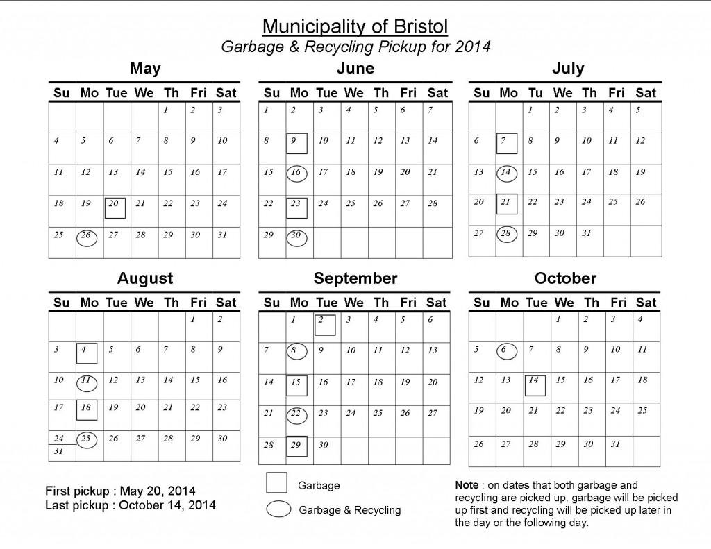 Bristol Garbage Recycline Schedule 2014